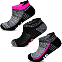 Socksology® Womens Ankle Athletic Running Socks Low Cut Sports Heel Tab No Show Sock SIZE UK 4-8 (3 Pairs, Grey/White…