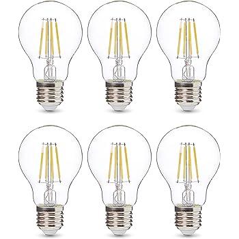 AmazonBasics Professional - Bombilla de tipo Edison LED, casquillo E27, equivalente a 40 W, vidrio de filamento transparente, regulable - juego de 6