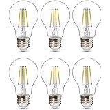 Amazon Basics Professional Lot de 6 Ampoule LED Culot Edison à vis E27 Équivaut à 40W À filament en verre transparent Intens