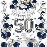 APERIL 50th Birthday Decorations for Men, Navy Blue White Balloons, Printed Silver Confetti Balloons Metallic Silver Balloons