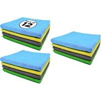 EMBOX Multicolored Microfiber Cleaning Cloths 12 pcs , 340 GSM - 40x40 cm, Highly Absorbent, Lint and Streak Free, Multi…