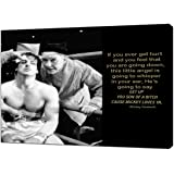 Mickey GoldMill Quote and Rocky Balboa Picture Reprint Framed Canvas Wall Art Home Decor 16'' x 12'' inch(40x 30 cm) -38mm De