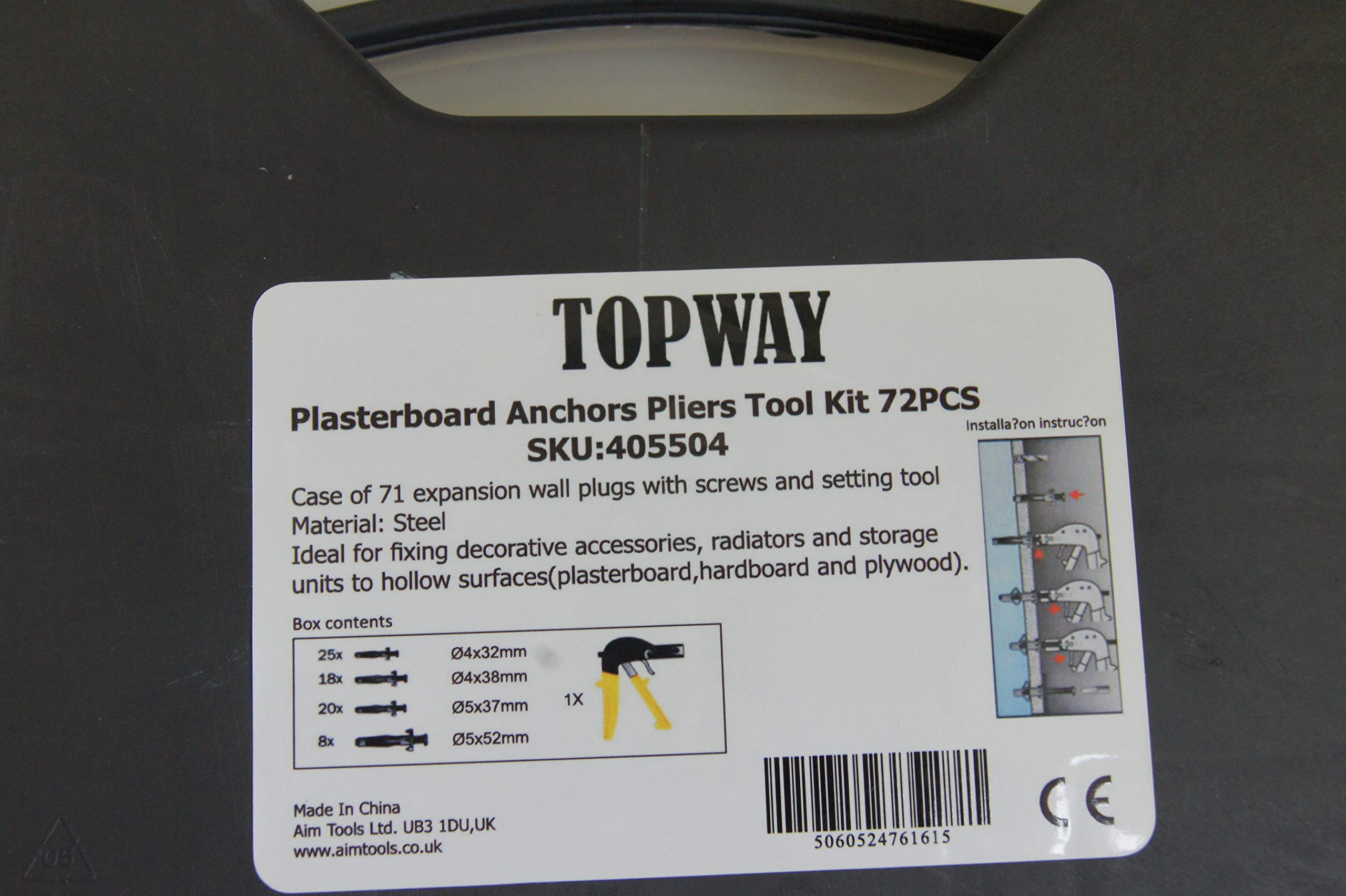 405504 Plasterboard Anchors Pliers Fixing Tool Kit 72PC < Anchors