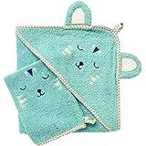 Vertbaudet Cape de Bain bébé à Capuche brodée Animaux Bleu Gris 70X70