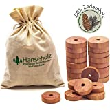 Hanseholz 40x Natürlicher Bio Mottenschutz und Baumwollbeutel - 100% Bio Naturprodukt - Langlebige und chemiefreie…