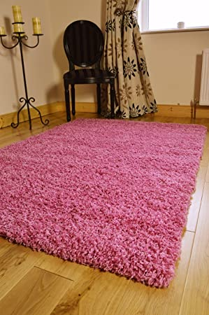 extra large small medium pink new modern soft thick shaggy non shed pile kids bedroom rug carpet living room mat cheap 5 sizes available 120 x 170 cms