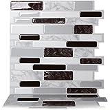 Tic Tac Tiles 25cm x 25cm 10 Blad 3D Muurtegels Zelfklevend Muurtegels voor Keuken en Badkamer - Polito Zwart & Wit