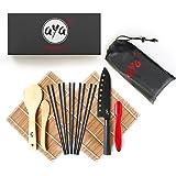 AYA Sushi Set - originele bamboe kit met sushi koksmes - online video tutorials - 2 rolmatten - lepel & spatel - 5 paar eetst