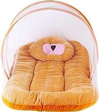 Weavers Villa Baby Mosquito Net with Bedding Set, 0-12 Months (Orange)