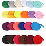 Celyoce 24 Pairs 120 cm Flat Coloured Shoelaces Shoestrings for Sport Sneakers Skate Shoes Boots, 24 Colors