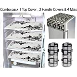 LOOMANTHA Combo of L-7 Decorative 1 Fridge Top and 2 Handle Cover with 4 Refrigerator Mat (Black and White) -7 Pieces