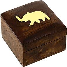 ShalinIndia Indischer Elefanten-Schmuckbehälter - Kleines Holzkästchen 5 x 5 x 3,8 cm - Schmuckkästchen für Halsketten