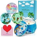 SCENTORINI Bougies Parfumées Coffret Cadeau Bougies à la Cire Végétale, Série de Vacances d'Été sur l'Île (Santorin, Maldives