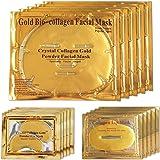 Masques faciaux au gel collagène or 24K, 5 paquets Masques pour le visage + 5 paires de masques pour les yeux au collagène + 5 paires de masques gel pour le soin des lèvres