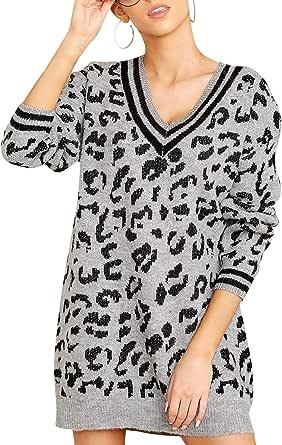 Pullover da Donna Maglione Ampio con Scollo a V Profondo Maglione Lavorato a Maglia Leopardato alla Moda Caldo Maglione Autunnale e Invernale
