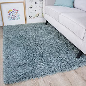 Vancouver Duck Egg Blue Grey Soft Touch Easy Clean Living Room Shaggy Rugs 80cm X 150cm