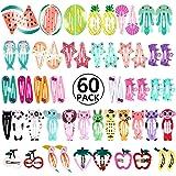 60pcs Pince à Cheveux, PAMIYO Barettes des Cheveux avec Animé Motif Coloré Mignon pour Fille Enfant Bébé
