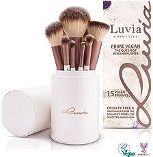 "Luvia Cosmetics - Exklusives Profi Kosmetikpinsel/Schminkpinsel-Set ""Prime Vegan - Make-Up Brush Set"" Inkl. 15 Beauty Pinsel & Pinsel Aufbewahrung In Perlmutt/Coffee Braun"