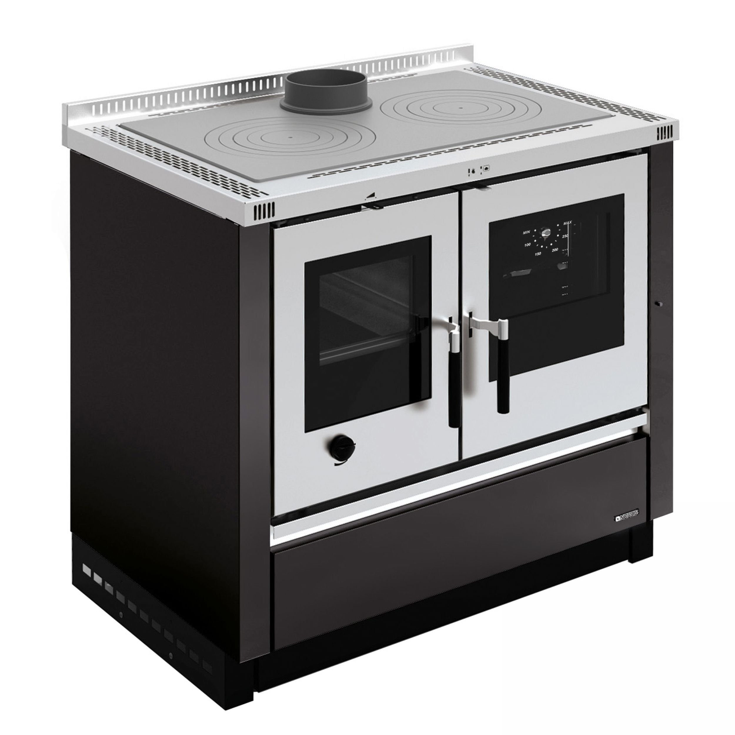 La Nordica - Cucina a Legna Padova Finitura Nero Antracite da 90cm