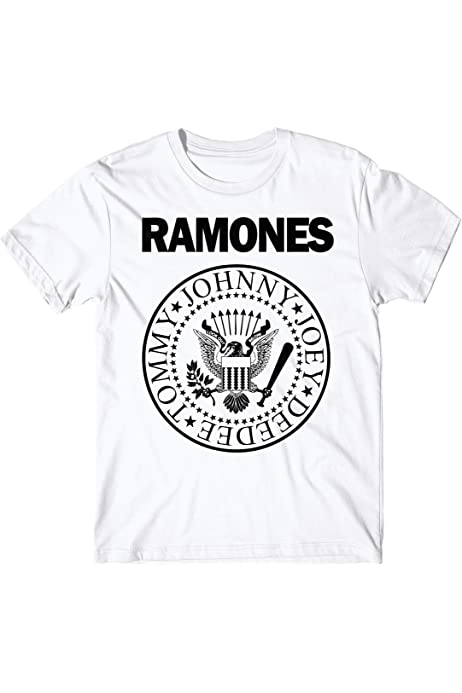 LaMAGLIERIA Camiseta Hombre Ramones - Stampa Bicolore Camiseta Punk Rock Logo 100% algodón, S, Blanco: Amazon.es: Ropa y accesorios