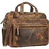 STILORD 'Walt' Vintage Aktentasche Leder Herren Damen Lehrertasche XL groß Büro Business Umhängetasche für 15,6 Zoll Laptop E