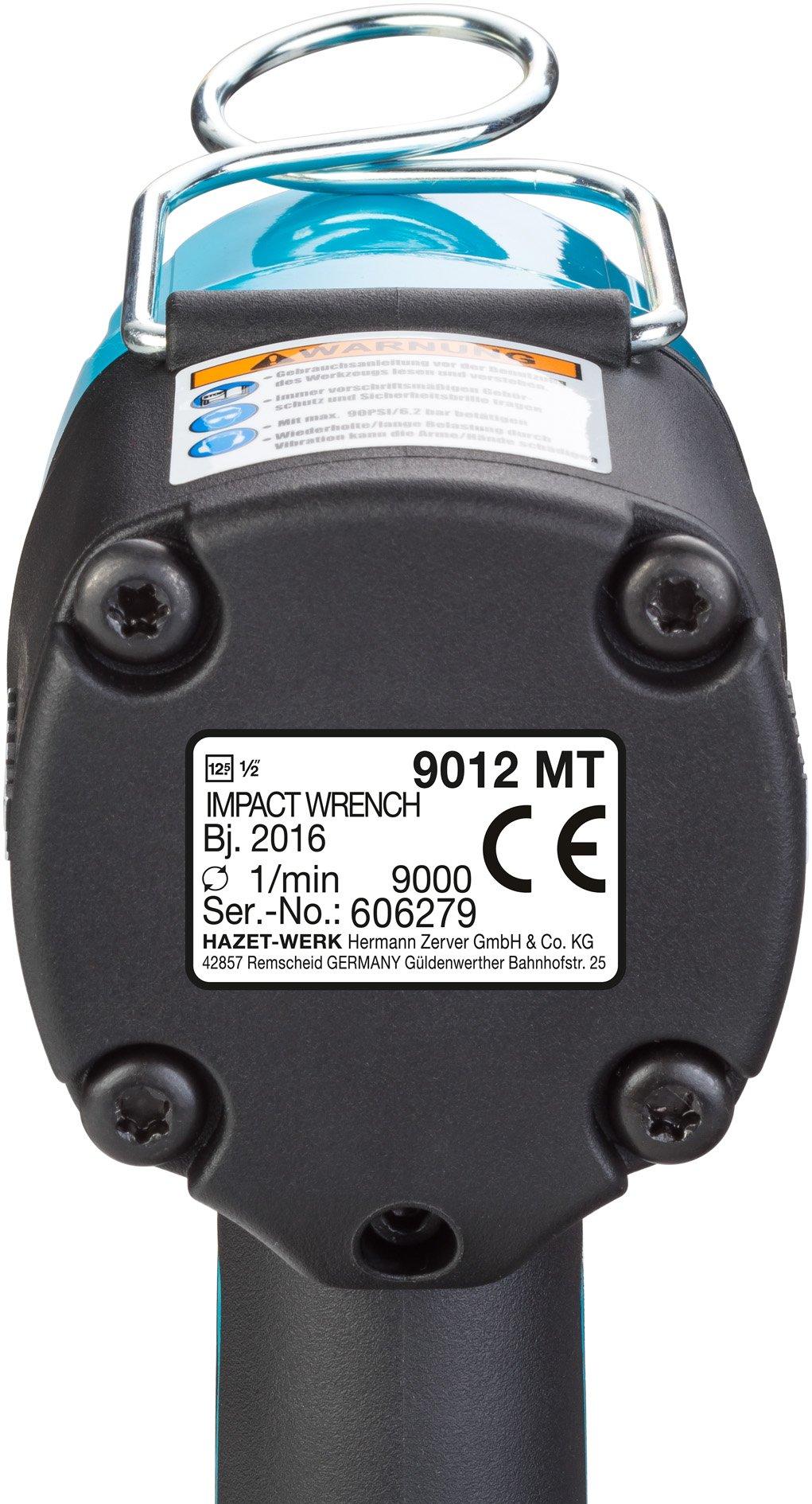 Hazet 9012MT Druckluft-Schlagschrauber, extra kurz, max. Lösemoment 1400 Nm, Vierkant 12,5 mm (1/2 Zoll)