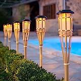 Lights4fun Lot de 2 Grands Torches de Jardin LED Solaire en Bambou