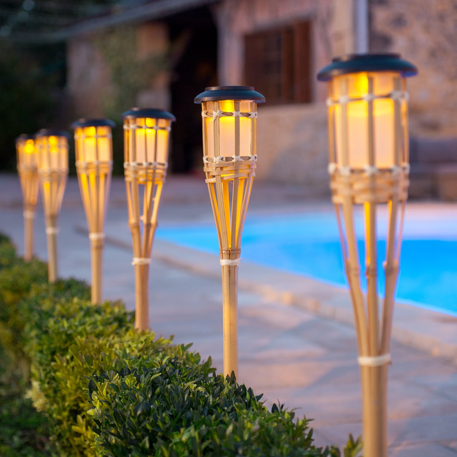 Captivating Set Of 10 Large Solar Powered LED Bamboo Garden Torches By Lights4fun:  Amazon.co.uk: Garden U0026 Outdoors