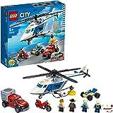 LEGO 60243 City Police Politiehelikopter achtervolging met ATV quad bike, motorfiets en truck, Bouwset voor kinderen van 5 ja
