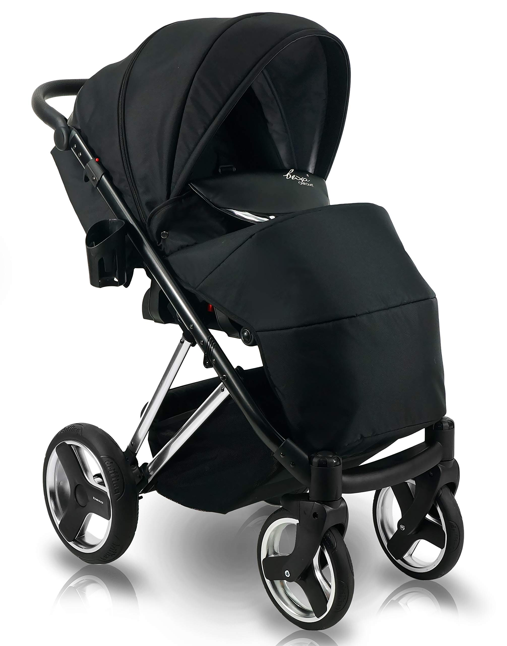 SaintBaby Stroller Buggy Baby seat Car seat Next II Gold Chrome Gold N1 4in1 with Isofix SaintBaby If you want the black frame instead of the gold frame, please inform us after the purchase. 3in1 or 2in1 Selectable. At 3in1 you will also receive the car seat (baby seat). Of course you get the baby tub (classic pram) as well as the buggy attachment (sports seat) no matter if 2in1 or 3in1. The car naturally complies with the EU safety standard EN1888. During production and before shipment, each wagon is carefully inspected so that you can be sure you have one of the best wagons. Saintbaby stands for all-in-one carefree packages, so you will also receive a diaper bag in the same colour as the car as well as rain and insect protection free of charge. With all the colours of this pram you will find the pram of your dreams. 6