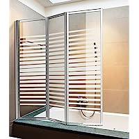 Giava Pare-baignoire à 3 volets, avec profils en aluminium et verre sérigraphié, (H) 140 x 134 cm