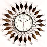 Handicraftgifts Iron Wall Clock Antique Style Art Unique 20 inch Wooden Metal Flower Design for Home & Office Decor Colour Go