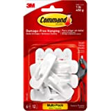 Command 17002-VP-6PK Small Hooks with Strips Value Pack (Pack of 2, 6 Hooks and 12 Small Adhesive Strips Each)