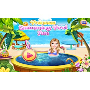 Principessa piscina e spiaggia : spa, relax e festa in spiaggia come una ragazza principessa - gioco per i bambini - gratis