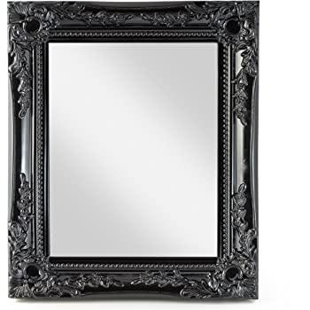 elbmoebel Wall mirror shabby chic antique style ornate black silver white - large 33x27x3 cm (Black)