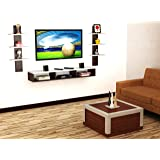 Anikaa Crystal TV Entertainment Wall Unit/Set Top Box Stand White/Wenge (Large)