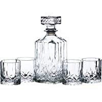BarCraft BCDECSET Cut-Glass Whisky Decanter and Tumbler Set in Gift Box (5 Pieces), Clear, 26 x 10 x 24 cm