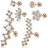 CASSIECA 6 Pezzi Cartilagine Orecchini in Acciaio Inossidabile per Donne Ragazze Orecchini in Fiore Conch Barbell Piercing Tr