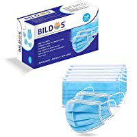 Bildos Non-Woven Fabric Disposable Surgical Mask (Blue, Without Valve, Pack of 50)