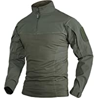 TACVASEN Men's Tactical T-Shirt 1/4 Zip Airsoft Military Shirt with 2 Zip Pockets