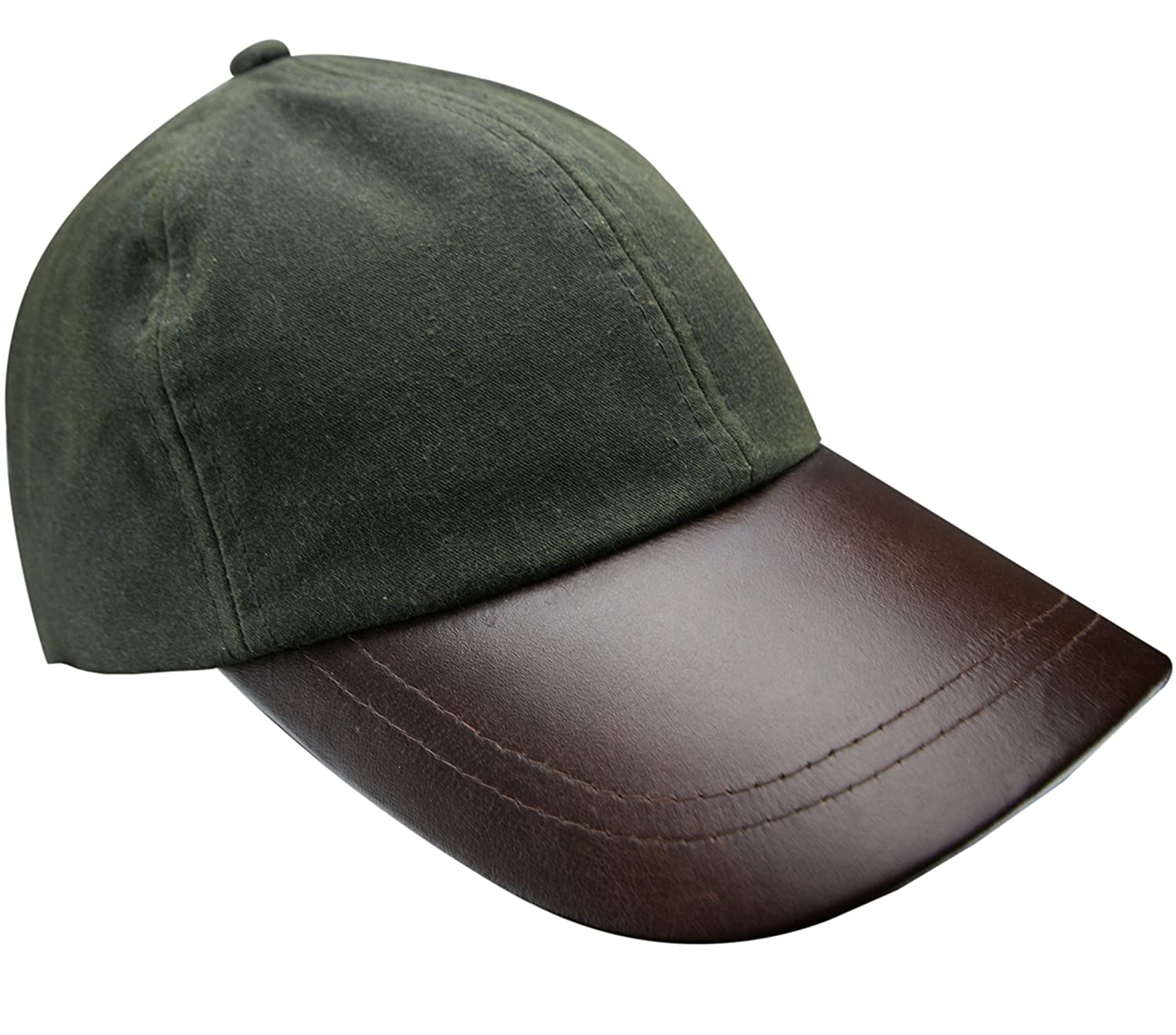 f628f2cbf4e47 New Mens Wax Baseball Cap Leather Peak Fishing Shooting Outdoor Waxed  Cotton Hat Brown Black Light Green Dark Green (Black)  Amazon.co.uk   Clothing