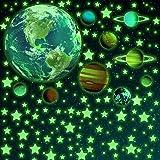 SnailGarden 470 Pièces Autocollants Lumineux,Système Solaire Lumineux et Étoiles et Carrés pour Chambres à Coucher de Bébé En