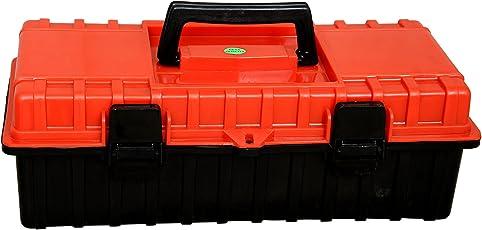 Lepose Compact Plastic Tool Box with Organizer (Orange and Black)