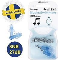 SWEDSAFE Gehörschutz Ohrstöpsel für Musik und Schwimmen - Konzert Gehörschutzstöpsel mit Kordel und Aufbewahrungsbox