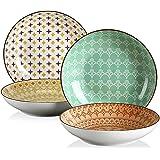 vancasso, série TULIP, Assiette Creuse Colorée, 4 Pièces, Style Marocain, Élément MANDALA(Assiette Creuse, Assiette Unique 4
