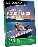 Wonderbox - Coffret cadeau couple - 3 JOURS GOURMANDS EN AMOUREUX - 380 séjours gourmands en hôtels 3 et 4 étoiles, manoirs, belles demeures, cabanes, yourtes, roulottes etc.