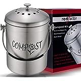RED FACTOR Deluxe Seau Compost Inodore en Acier Inoxydable pour Cuisine - Poubelle Compost Cuisine - Comprend Filtres à Charb