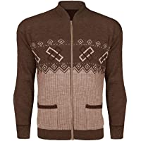 GA COMMUNICATIONS Mens Classic Zip UP Cardigan Argyle Knitwear Granddad Aztec Two Front Pockets Knitted TOP Long Sleeves…