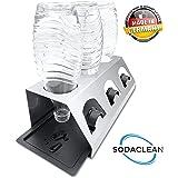 SodaClean® Premium Abtropfhalter aus Edelstahl mit Abtropfwanne - für SodaStream und Emil Flaschen   spülmaschinenfest Abtropfständer Abtropfgestell inkl. Deckelhalterung   Crystal Easy Power (3er)