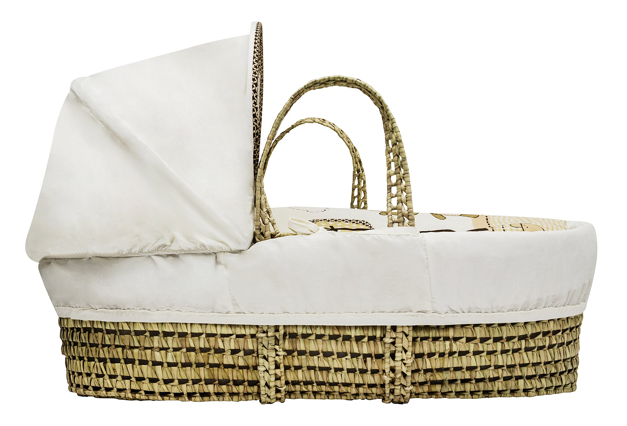 Kinder Valley Tiny Ted Moses Basket, Cream  Suitable from new-born for up to 9kg. This Tiny Ted bedding is made from easy care poly-cotton. Washable, water resistant and breathable mattress. 2